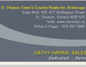 Cathy Harris : Sales Representative : St. Thomas Town & Country Realty Inc. Brokerage